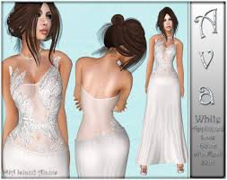 Second Life Marketplace - Ava White Appliqued Lace Gown with Mesh Skirt