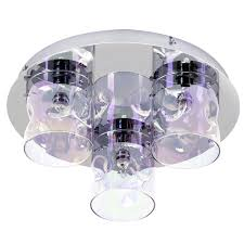 tinted glass flush ceiling light chrome free delivery