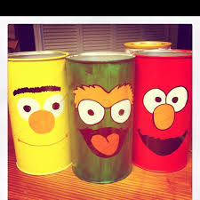 painted baby formula cans i did for the kids room for colors pencils etc
