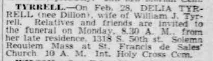 Delia Dillon Tyrrell Death Notice - 1940 - Newspapers.com