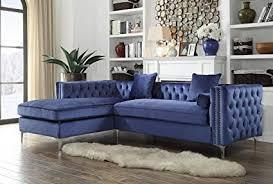 blue velvet sectional. Wonderful Sectional Iconic Home Da Vinci Tufted Silver Trim Navy Blue Velvet Left Facing  Sectional Sofa With For C