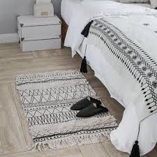 kilim black white 100 cotton living room bedside carpet geometric indian rug striped modern mat morocco design nordic style commercial grade area rugs