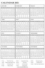 2021 calendar with us bank holidays