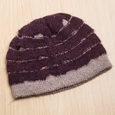 maroon and ash grey alpaca blend beanie hat knitted in peru andean winter in maroon