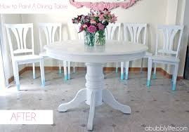 painting wood furniture whiteA Bubbly LifeHow to Paint a Dining Room Table  Chairs Makeover