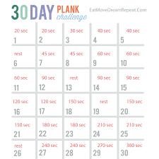 30 Day Plank Challenge Printable Chart Bedowntowndaytona Com