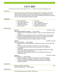 resume samples marketing