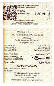 tickets and fares mpk Łódź spółka z o o