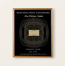 Sugar Bowl Seating Chart Mercedes Benz Superdome New Orleans Saints Seating Chart Blue Print Gift For Saints Fan New Orleans Louisiana Football Decor