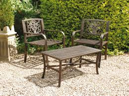 Uk Gardens Bronze Metal 3 Piece Bistro Garden Table And 2 Chairs