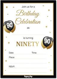 90 Birthday Party Invitations 90th Birthday Invitations With Envelopes 30 Count 90 Ninety Year Old Anniversary Party