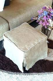 gray ottoman slipcover cube chair and slipcovers club t microfiber faux leather sect