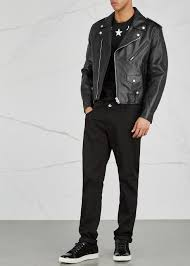 givenchy black leather biker jacket press stud fastening lapels aujsapu