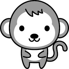 猿のイラスト白黒 無料フリーイラスト素材集frame Illust