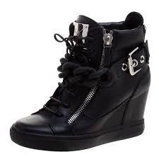 black leather lorenz birel wedge sneakers size 38 nextprev prevnext