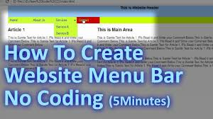 How To Design A Menu Bar In Html How To Create Website Horizontal Menu Bar In Dreamweaver Without Coding Website Design Tutorial