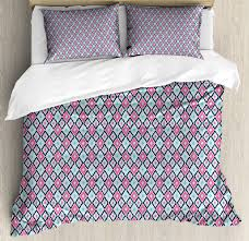ikat duvet cover set bohemian southeast asian pattern rhombus soft colors image ornamental design decorative bedding set with pillow shams baby blue pink