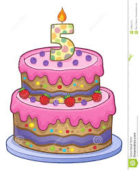 Birthday Cake Image For 5 Years Old Stock Vector Illustration Of