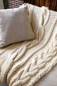 Large Chunky Knit Throw Blanket 100% merino wool