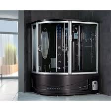 Siena Black Acrylic, Glass, Stainless Steel Steam Shower Sauna With  Whirlpool Massage Bathtub - Free Shipping Today - Overstock.com - 18863787