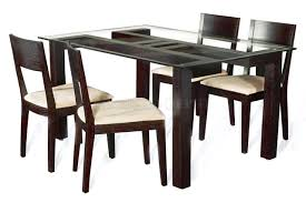 Glass top dining tables Seater Dining Tables Dining Table With Glass Top And Wood Base