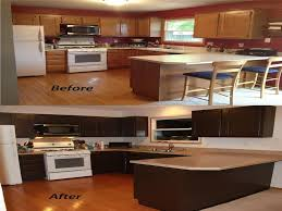 cabinets stain colors redo  kitchen cabinet redo before and after using gel stain over stained wo
