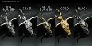bull cow head skull silver gold panther necklace w cubic zirconia horn animal jewelry oxen buffalo
