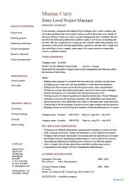 Entry Level Project Manager Resume Sample Best Free Project
