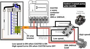 how to wire intermatic ca same wiring applies to 120volt 2 speed motor or pump where white neutral wire replaces red wire and white neutral connects to neutral busbar in breaker