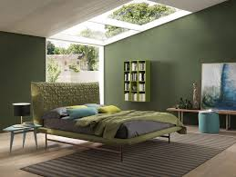 Bedroom With Green Wall And Bedding Bolzan Sheen Light
