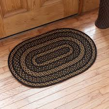 details about farmhouse black tan jute country cottage oval braided rug