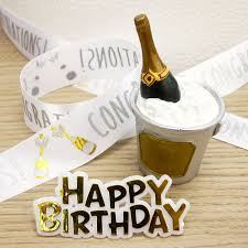 Champagne Cake Topper And Happy Birthday Cake Decoration Set