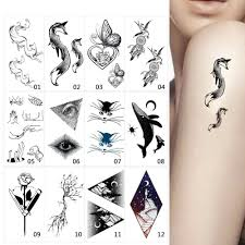 1 Sheet Black Fake Animal Body Makeup Tattoo Temporary Sticker Moon