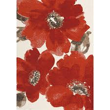 5 x 8 medium fl red and brown area rug camino