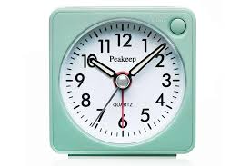 ultra small battery travel alarm clock with snooze and light silent with no ticking og quartz aquamarine