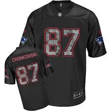 Gronkowski Rob 87 Stitched Patriots Black Jersey Sideline United Nfl