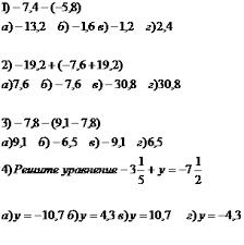 Урок математики в м классе по теме Сложение и вычитание  расположенных между числами 7 5 и 5 2