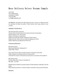 Driver Resumes Delivery Driver Resume Sample Beer Job Description