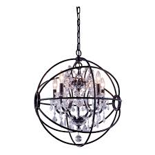 foucault s orb 5 light 20 dark bronze iron orb crystal chandelier