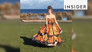 Homemade dress transforms from <b>ball gown</b> to <b>butterfly</b> - YouTube