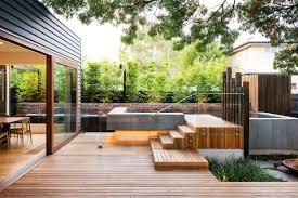 ... Interesting Brown Square Modern Wooden Design Backyard Ornamental  Wooden Ideas: Astounding exterior design ...