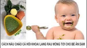 Cách nấu cháo cá hồi khoai lang rau mồng tơi cho bé ăn dặm - Salmon sweet  potato porridge for babies - YouTube