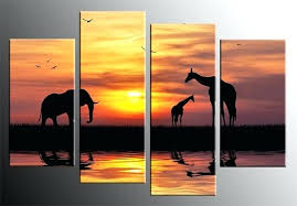 sunset wall art 4 panel canvas giraffes picture red sunset wall art in by canvas  on sunset wall art canvas with sunset wall art 3 piece canvas home decor large pictures blue huge