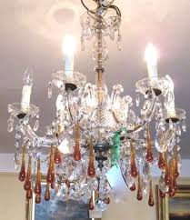 glass chandelier with long amber drops