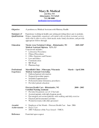 Medical Assistant Resume Examples No Experience Resume Format 2017 within Medical  Resume Templates