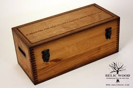 large wooden box laser engraved text