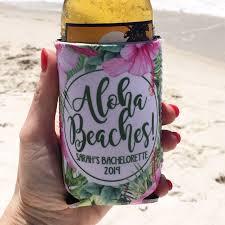 Beach Koozie Designs Beach Vacation Koozies Or Neoprene Coolies Tropical Palm Leaves White
