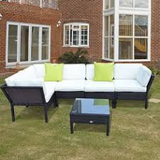 outsunny 6 pc rattan sofa set outdoor garden patio furniture corner sofa set wicker conservatory aluminum amazon patio furniture covers