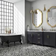 black and white cement tile floors