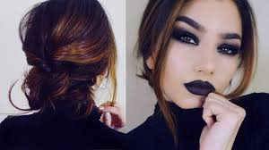 full coverage goth makeup tutorial short hair braid bun updo you